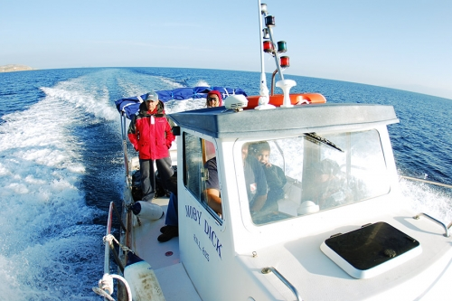 Salt water divers  in syros - our boat